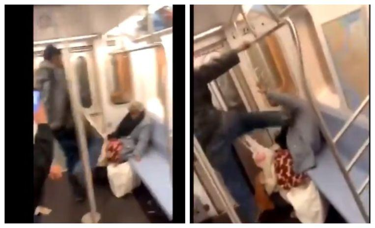 Subway travelers watch as man punishes helpless elderly woman