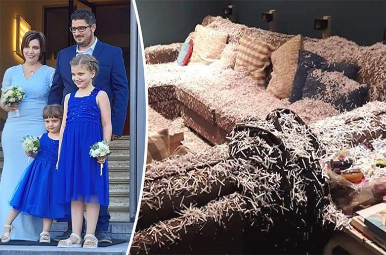 Couple return from their wedding, their home full of shredded paper