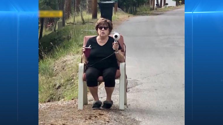 Grandma scares off-speed devils with a hairdryer as a speedometer
