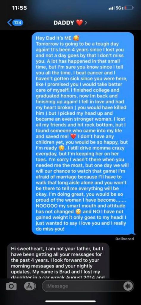 She texted her deceased father every day for 4yrs and suddenly received an answer