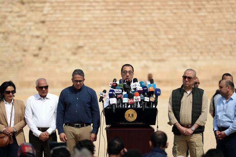The Prime Minister of Egypt, Mostafa Madbouli, held a press conference to celebrate the reopening of the pyramid.