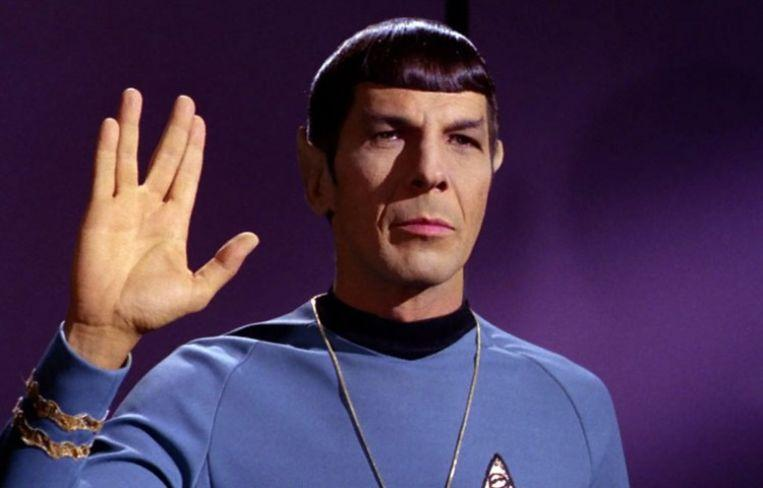 Leonard Nimoy as Mr. Spock in the original 'Star Trek' series. Here he shows the classic salutation of his people, the Vulcans.