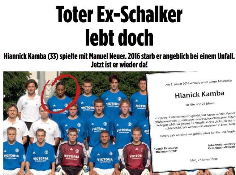 Hiannick Kamba is still alive, Bild reported.