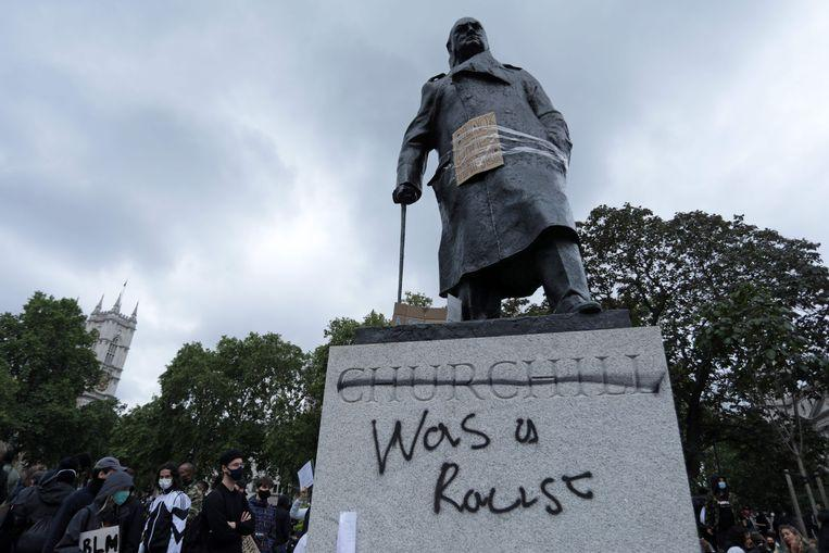 In London, the image of former Prime Minister Churchill was smeared with graffiti.