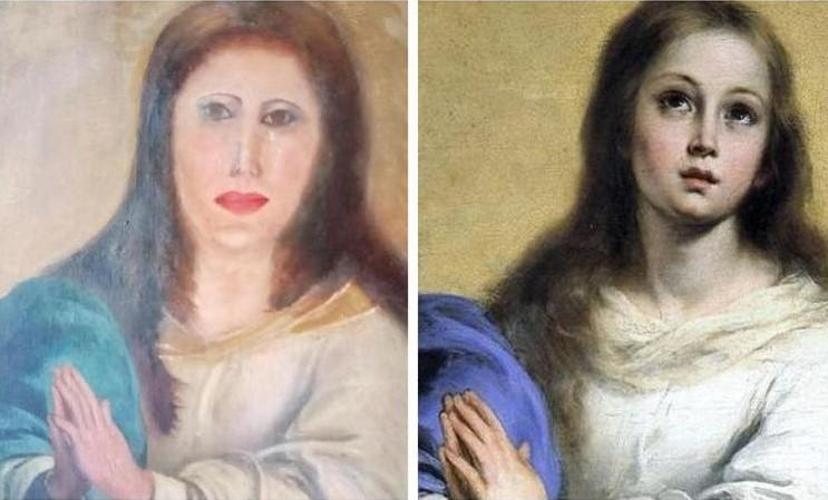 """Restoration goes wrong: """"face of Virgin Mary mutilated beyond recognition"""""""
