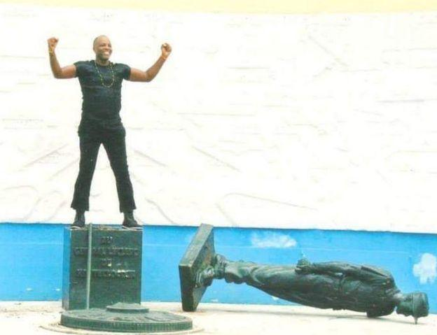 Andre Blaise Essama first toppled Gen Leclerc's statue in 2003