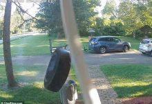 Watch how loose car tire rings the doorbell at home