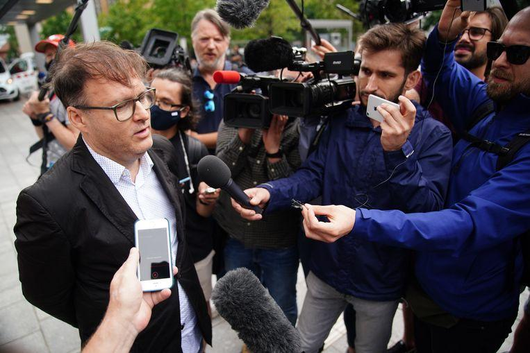 Jaka Bizilj of the German Cinema for Peace organization speaks to the press.