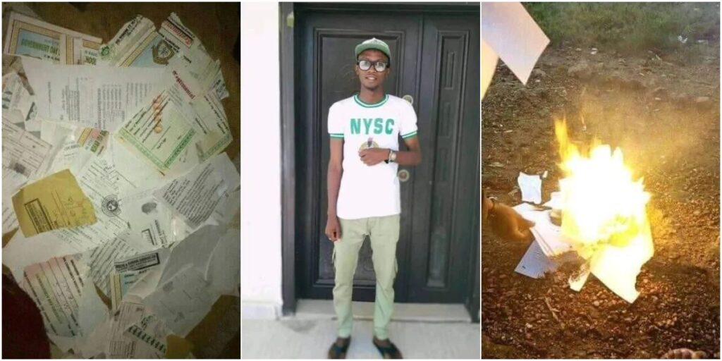 Not only in Nigeria but also in Africa, frustrated graduate burns certificates