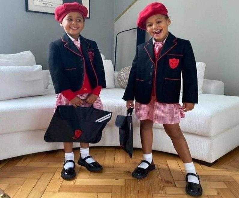 Cute picture of Mikel Obi's twins Mia and Ava starting school