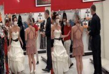 lady in a wedding gown, shows up at her fiance's workplace, forces him to marry her after 2 years of engagement