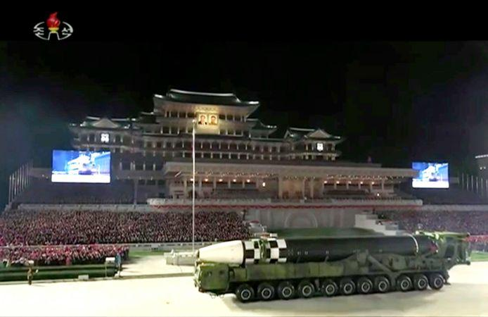 Photo shows a military parade with what appears to be a possible new intercontinental ballistic missile (ICBM) at Kim Il Sung Square in Pyongyang.