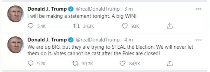 """Trump claims """"big win"""" and claims """"they are trying to steal election"""""""