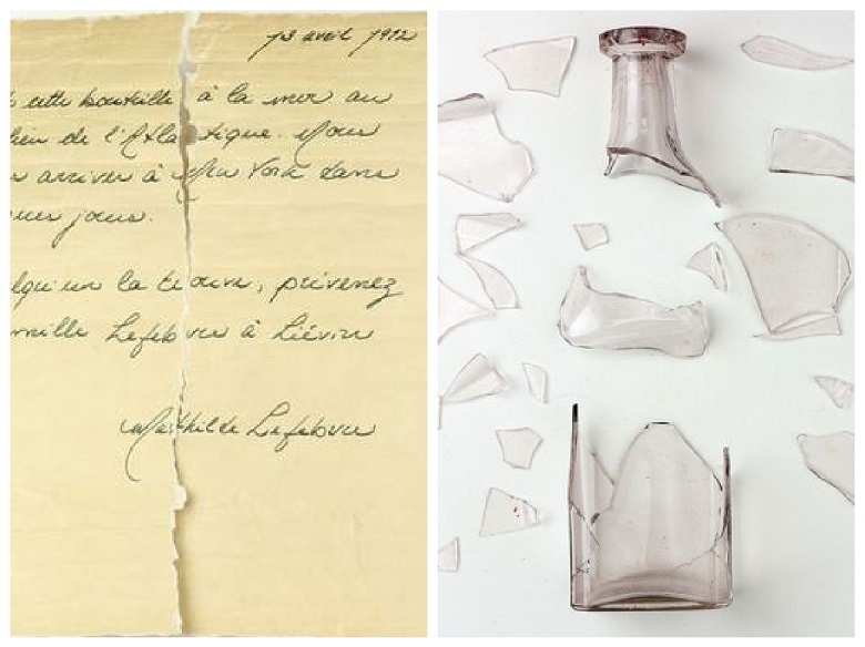 Bottle found on the shore with a letter written by a Titanic passenger