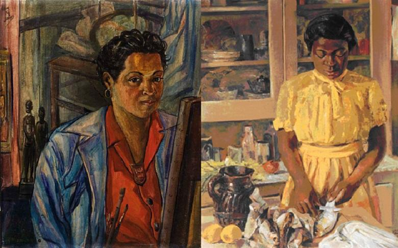 Self-portrait of Lois and a portrait of her friend
