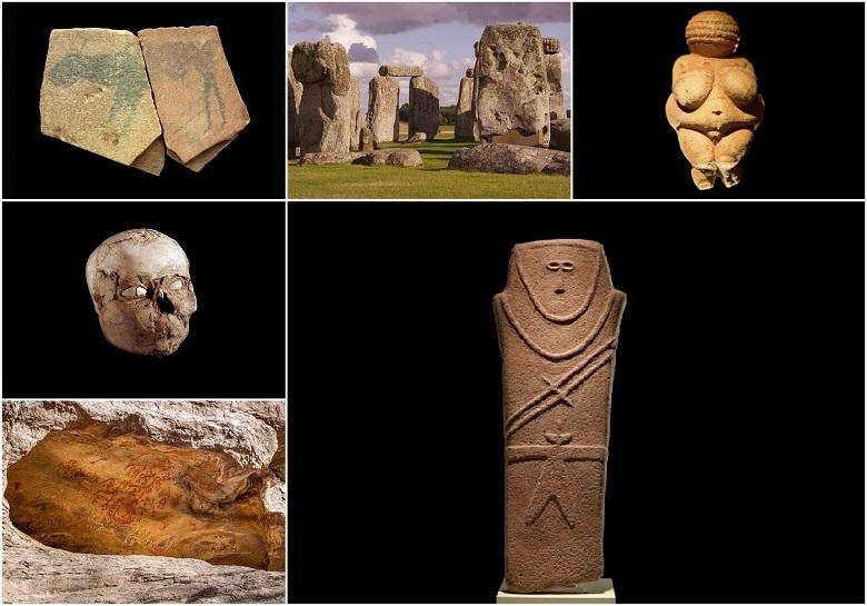 What most ancient works of art created by prehistoric people tell us?