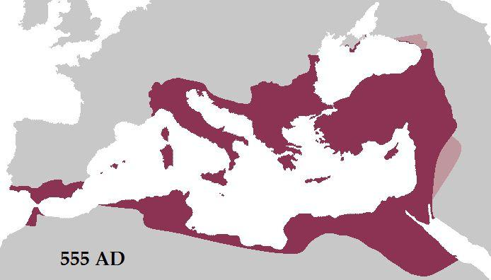 Byzantine Empire at its greatest extent in 555 AD under Justinian the Great