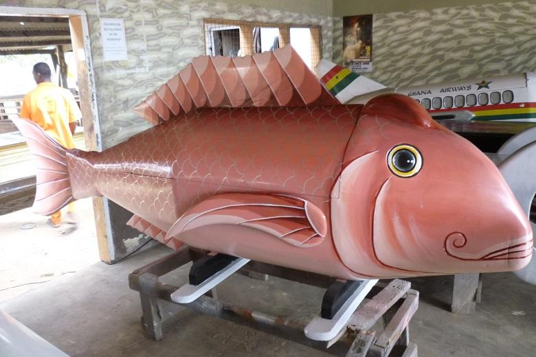 Coffin in the shape of fish