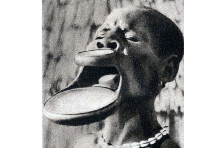 African tribe with plates in their lips