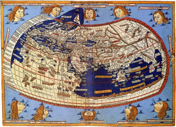 """The map of Ptolemy's """"Inhabited World"""", recreated after his death on a Byzantine manuscript of the 13th century, is one of the most famous and informative"""