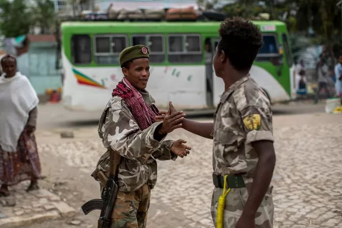 Fighters of the TPLF (Tigray People's Liberation Front).