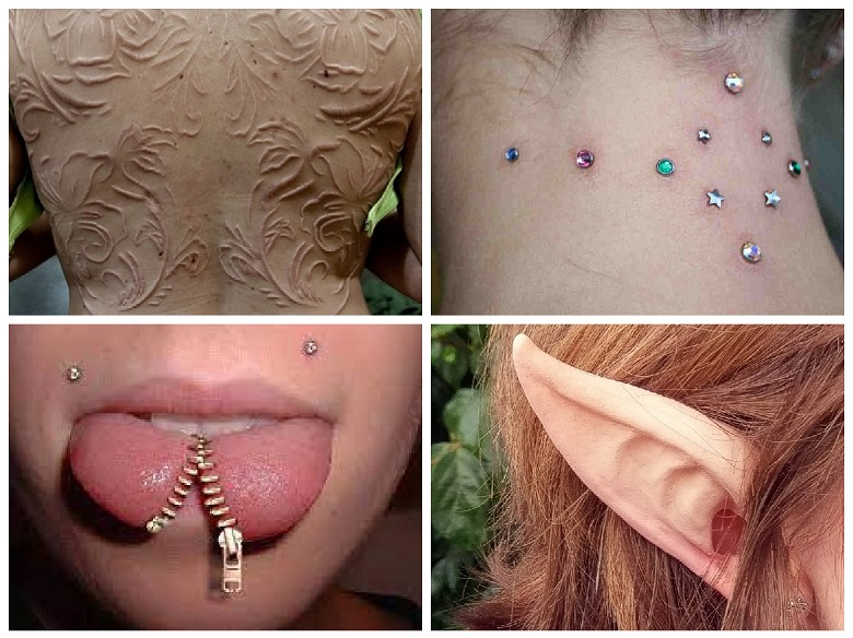 What are body modifications other than piercings and tattoos?