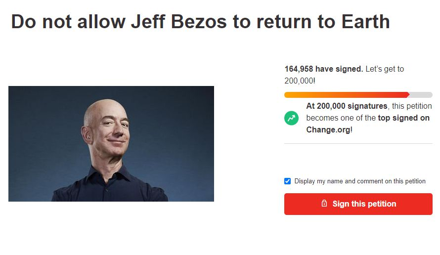 Over 164,000 people sign petition to stop Jeff Bezos from returning to Earth