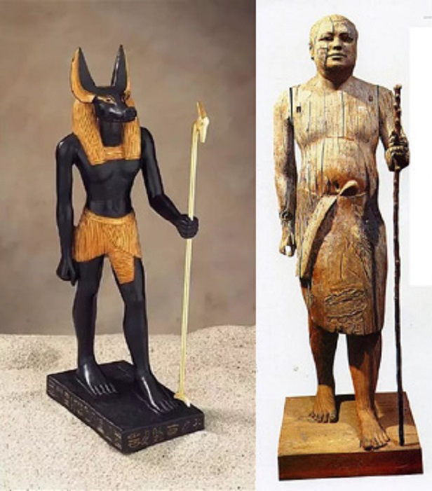 Why do Egyptian statues have the left foot forward?