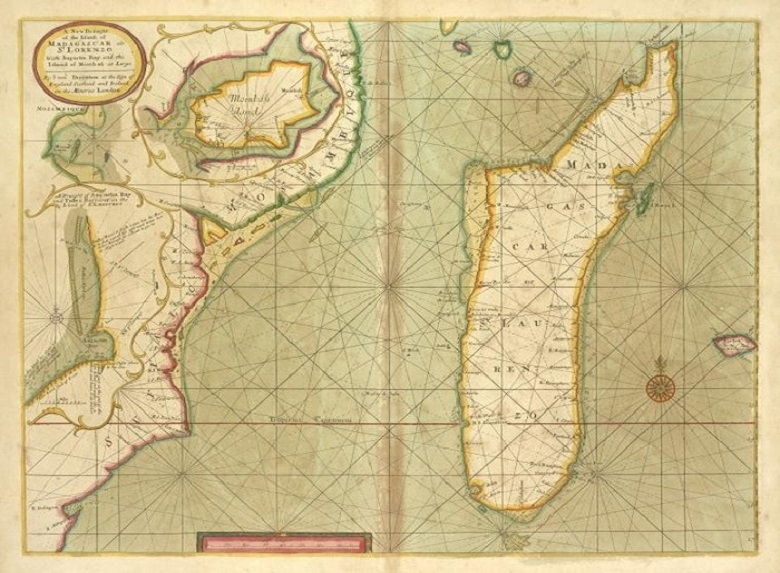 Map of the island of Madagascar, early 18th century