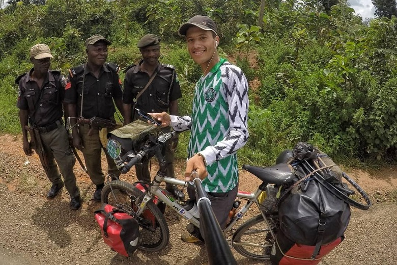 On his bike, Moroccan globetrotter Yassine Sqalli persists to travel all over Africa