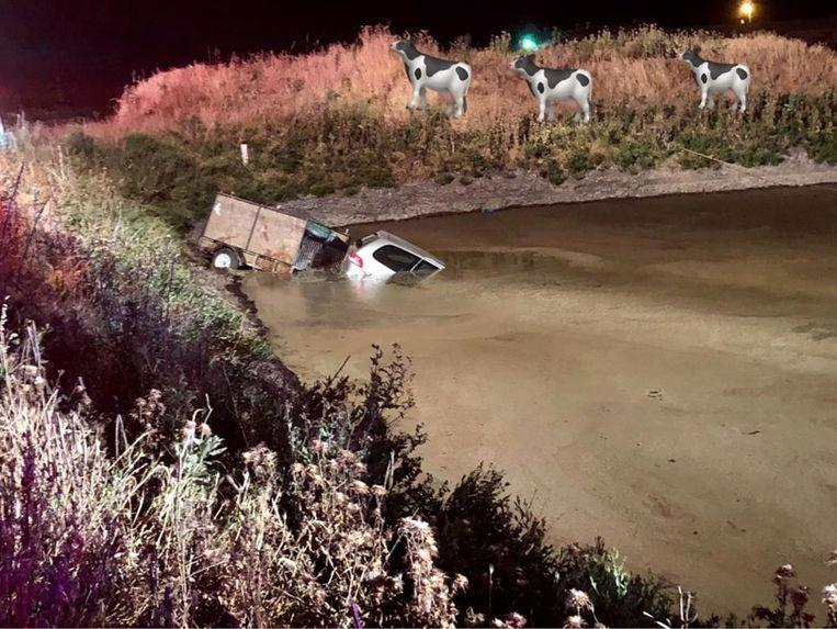 Drunk driver end up inside a large pool of liquid shit
